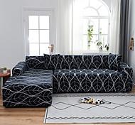 abordables -Gris foncé lignes blanches art étanche à la poussière tout-puissant extensible en forme de l housse de canapé super doux tissu canapé meubles protecteur avec un étui boster gratuit