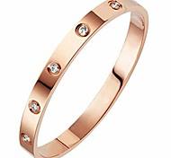 economico -bracciale rigido classico in acciaio inossidabile semplice con zirconi cubici (oro rosa)