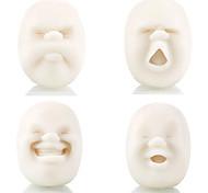 abordables -4 pièces / ensemble vent visage humain balle presser jouet sensoriel mochi squishies balle anti-stress blanc