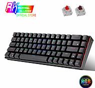 economico -rk68 (rk855) 65% bluetooth rgb tastiera da gioco meccanica sostituibile a caldo compatta 68 tasti tastiera da gioco wireless per pc laptop