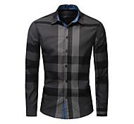 economico -litb basic da uomo in lattice color block camicia con bottoni manica lunga da lavoro top in cotone pesante top abbigliamento formale da ufficio tutti i giorni