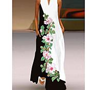 abordables -commerce extérieur 2021 printemps et été nouveau style col en v jupe longue impression numérique robe sexy européenne et américaine 3d grande jupe swing Vente en gros