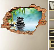 abordables -3D mur cassé vert bambou pluie fleur pierre maison couloir décoration de fond peut être enlevé autocollants