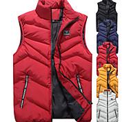abordables -Hommes automne hiver chaud col montant sans manches gilet manteau décontracté couleur pure gilet gilets veste top manteau m-4XL