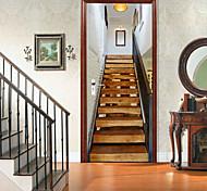 abordables -2 pièces auto-adhésif créatif porte autocollants en bois massif cage d'escalier salon bricolage décoratif maison étanche stickers muraux