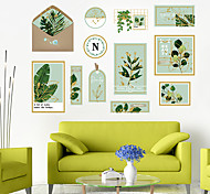 economico -adesivo da parete piccolo fresco artistico pianta verde cornice per foto fai da te camera da letto portico abbellimento della parete adesivo decorativo da parete