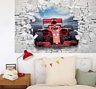 abordables -La décoration de fond de couloir de maison de voiture de formule de mur cassé 3D peut être enlevée des autocollants