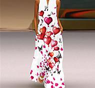 abordables -2021 Amazon nouvelle jupe longue dames robe imprimée rétro col en v robe d'été sans manches avec poches