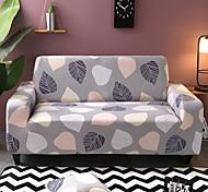 economico -fodera per divano elasticizzata onnipotente antipolvere con stampa foglie grigie in tessuto super morbido con una custodia in omaggio