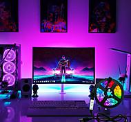 economico -set di luci di striscia led lampada flessibile 1m 2m 3m 4m 5m diodo a nastro smd 5050 dc5v schermo da scrivania illuminazione di sfondo tv cavo usb 3 controllo chiave ip65