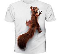 abordables -Homme Tee T-shirt 3D effet Graphique Ecureuil Animal Imprimé Manches Courtes Quotidien Hauts basique Designer Chic de Rue Exagéré Col Rond Blanche Bleu Rouge