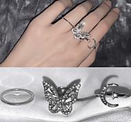 economico -super fata personalità moda zircone farfalla luna anello aperto design nicchia regolabile vento freddo anello dito indice femminile
