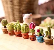 economico -mini cactus decorazione resina moderna impermeabile decorazione della casa regalo 7 pezzi