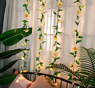 abordables -rose fleur feuille de lierre led fée guirlande lumineuse 2m 20 led rose guirlande fil de cuivre lumières pour la fête de mariage événement décor à la maison éclairage blanc chaud aa batterie puissance