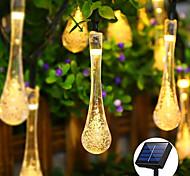 abordables -Extérieur étanche solaire goutte d'eau guirlande lumineuse 7m 50leds lampe décorative de noël mariage extérieur jardin patio pelouse décoration