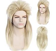 abordables -Pas de lunettes blonde des années 80 rock style mulet cosplay perruque synthétique longues perruques ondulées naturelles pour homme et femme