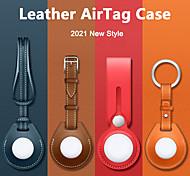 abordables -étui en cuir pu pour apple airtag housse de protection housse anti-rayures anti-perte étui léger pour airtags clé finder porte-clés accessoires