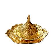economico -bruciaincenso portatile in metallo dorato creativo medio oriente arabia mini piccolo bruciatore di incenso con vassoio una consegna