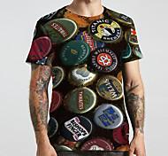 economico -Per uomo Unisex Magliette maglietta Stampa 3D Stampe astratte Tappo di bottiglia Taglie forti Con stampe Manica corta Casuale Top Essenziale Originale Grande e alto Arcobaleno