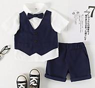 economico -Bambino (1-4 anni) Da ragazzo Camicia e pantaloncini Completo 2 pezzi Manica corta Blu marino Tinta unita Compleanno Festival Essenziale Standard Da 1-4 anni