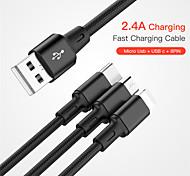 economico -Micro USB Lightning USB C Cavi Tutto-in-1 Intrecciato 1 a 3 2.4 A 1.0m (3 piedi) Nylon Per Samsung Xiaomi Huawei Appendini per cellulare