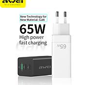 economico -AWEI 65 W Potenza di uscita USB USB C Caricatore GaN Caricabatterie portatile Ricarica veloce Caricatore portatile durevole Per Cellulari