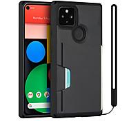 economico -telefono Custodia Per Google Per retro Google Pixel 4a Google Pixel 5 Google Pixel 5 XL Porta-carte di credito Resistente agli urti A prova di sporco Mattonella Tinta unita TPU