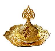 economico -bruciaincenso portatile medio oriente arabo piccolo lusso europeo piccolo bruciatore di incenso in metallo dorato con vassoio spedito