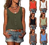 economico -camicia senza maniche della camicia della camicia della maglia del bottone del v-collo di colore solido delle nuove donne di desiderio di estate di amazon 2021