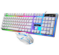 economico -usb cablato pc colorato led illuminato retroilluminato arcobaleno tastiera da gioco set di mouse tastiere da gioco per computer impermeabili