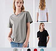 economico -t-shirt 100% cotone da donna di base tinta unita t-shirt classica casual t-shirt girocollo top basic da indossare ogni giorno maglietta estiva da uomo semplice