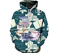 abordables -Homme Unisexe Sweat-shirt à capuche Imprimés Photos Livre Imprimé Décontracté Quotidien Vacances 3D effet basique Designer Pulls Capuche Pulls molletonnés Bleu