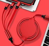 economico -Micro USB Lightning USB C Cavi Tutto-in-1 1 a 3 2.4 A 1,2 m (4 piedi) TPE Per Samsung Xiaomi Huawei Appendini per cellulare