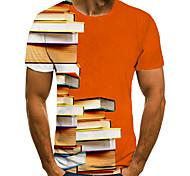 abordables -Homme Unisexe Tee T-shirt 3D effet Imprimés Photos Livre Grandes Tailles Imprimé Manches Courtes Décontracté Hauts basique Mode Designer Grand et grand Orange