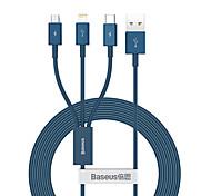 economico -BASEUS Micro USB Lightning USB C Cavi 1 a 3 3.5 A 1.5M (5 piedi) TPE Per Macbook iPad Samsung Appendini per cellulare