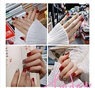 economico -24 pz / pacco punte per unghie colore rosso bordeaux donne stampa finta indossabile sulle unghie con strass unghie artificiali a copertura totale corta tonda