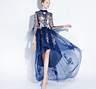 economico -Linea-A Stile cinese Florale Graduazione Serata formale Vestito Con decorazione gioiello Manica a 3/4 Asimmetrico Tulle con Ricamo 2021