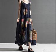 economico -Acquista estate nuovo stile nazionale grasso mm cotone e lino stampato gilet senza maniche vestito di media lunghezza gonna lunga abbigliamento donna