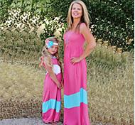abordables -Maman et moi Enfant Adulte Lots de Vêtements pour Famille Robe Bloc de Couleur Sans Manches Patchwork Noir Rouge Maxi Eté basique