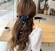 abordables -série fille coréenne douce et fraîche patchwork de perles velours orné double nœud papillon gland épingle à cheveux clip côté doux