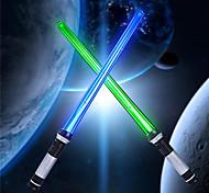 economico -light up sabre 2-in-1 led fx doppia spada laser con sensore di movimento fx effetto sonoro led doppia spada laser retrattile adatto per regali di compleanno feste di halloween per bambini