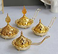 economico -Bruciatore di incenso in metallo dorato stile semplice e moderno Bruciatore di incenso a mano arabo del medio oriente portacandele a doppio uso una consegna