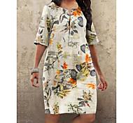 economico -abito da donna taglie forti abito al ginocchio fucsia arancione mezza manica stampa floreale autunno estate girocollo caldo vintage 2021 s m l xl xxl 3xl 4xl