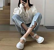 economico -2021 primavera britanniche piccole scarpe in pelle da donna tacco alto tacco spesso scarpe singole fibbia mocassini fiore di cristallo mary jane scarpe donna