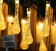 abordables -Lumière solaire à l'extérieur ampoules à gouttelettes lampe solaire étanche rgb fée chaîne lumières solaires pour jardin patio vacances décor 6.5m-30leds 12m-100leds
