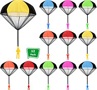 economico -12 pezzi paracadute giocattolo paracadute lancio a mano giocattolo set groviglio lancio libero figure di paracadute mano lanciare soldati giocattoli volanti all'aperto