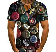 economico -Per uomo Unisex Magliette maglietta Stampa 3D Stampe astratte Tappo di bottiglia Taglie forti Con stampe Manica corta Casuale Top Essenziale Di tendenza Originale Grande e alto Nero