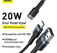 abordables -BASEUS Micro USB USB C Câble 1 à 2 2.4 A 1.2m (4ft) Aluminium TPE Pour Samsung Xiaomi Huawei Accessoire de Téléphone