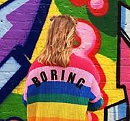 economico -abbigliamento donna transfrontaliero europa e stati uniti nuove strisce arcobaleno maglione con scollo a v colore colpito cardigan lavorato a maglia da donna cappotto di media lunghezza