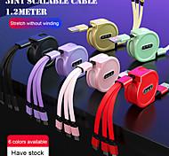 economico -Micro USB Lightning USB C Cavi Tutto-in-1 1 a 3 3 A 1,2 m (4 piedi) TPE Per Samsung Xiaomi Huawei Appendini per cellulare
